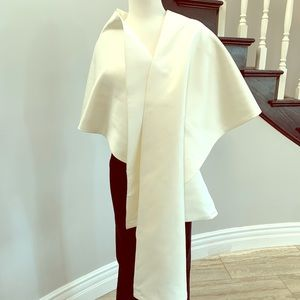 Accessories - Stunning heavy silk satin ivory formal bridal wrap